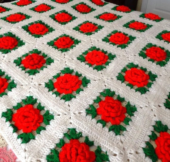 Vintage 70s Yellow Daisy Flower Afghan Throw Blanket Flower: 1970s Handmade Crocheted Fringed Afghan Or Throw In Red