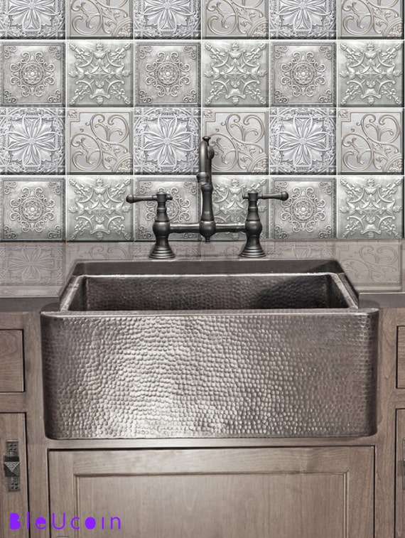 Tin style kitchen/bathroom/floor/ceiling tile/wall decals: 4