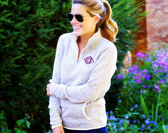 Monogrammed Quarter Zip Pullover Heather Fleece 1/4 zip Sweater Embroidered