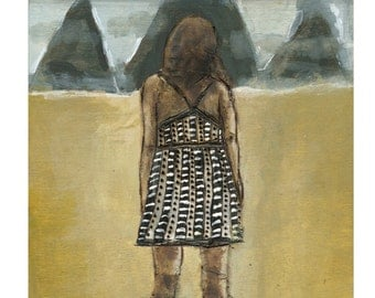 Fine Art Print, Figurative wall art, mountains, dress, away from here