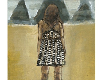 Fine Art Print, Figurative wall art, mountains, dress, away from here