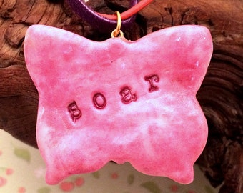 New! Soar/Fly Free UltraLight Clay Necklace - Fibromyalgia Awareness Jewelry, Chronic Illness, Butterfly, Reversible Design