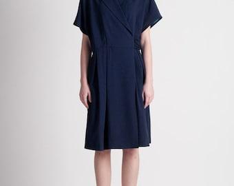 30% Season Off_Summer Cool Wool Crepe Wrap Dress_Blue-Navy