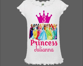 Disney Princess Birthday Shirt - Disney Princess Shirt with Elsa and Anna