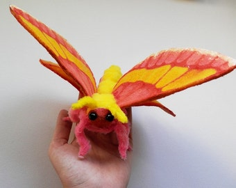 MADE TO ORDER Rosy Maple Moth plush (Dryocampa rubicunda) - ooak art doll