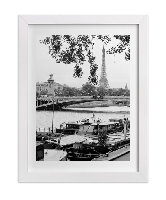 Paris Photography, Port Des Tuileries, Eiffel Tower Print, Black and White Paris Wall Decor, Original Signed Paris Art Print