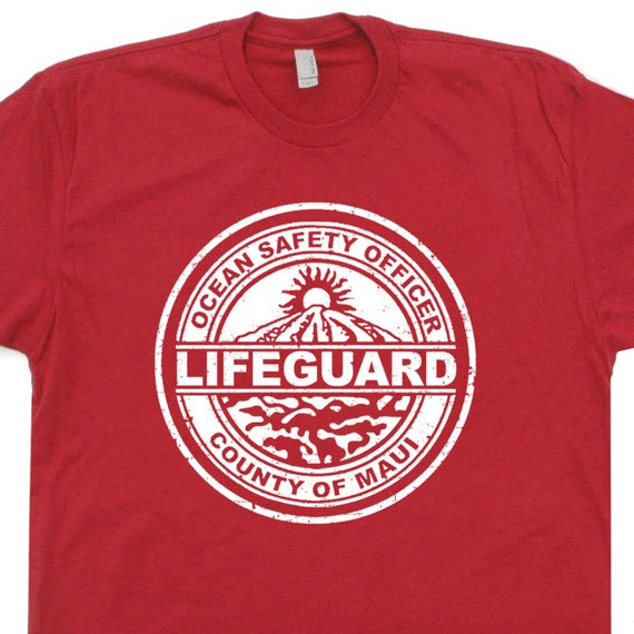Maui lifeguard t shirt vintage hawaii t shirt by shirtmandude for Hawaiian graphic t shirts