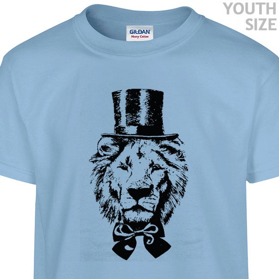 youth kids lion t shirt lion wearing top hat t shirt funny. Black Bedroom Furniture Sets. Home Design Ideas