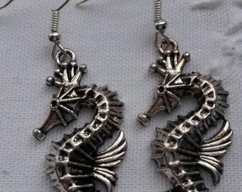 Large sea horse earrings, metal charm earrings