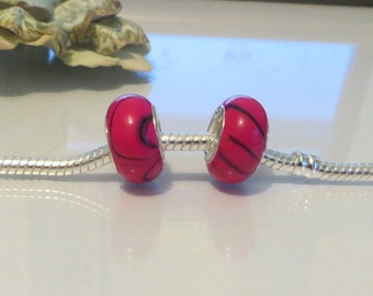European Style Glass Bead Charm for European Bracelet, 925 Silver Core, Pink