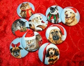 SALE!!  Handmade Christmas Holiday Dog or Cat Pet Magnets