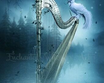 white dove on fantasy harp art print