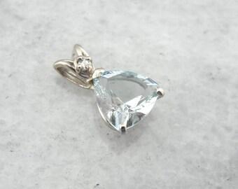 Aquamarine Teardrop Pendant In White Gold WQ2183-P