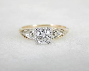 Retro Engagement Ring with three quarter carat European Cut Diamond 02N56W-D