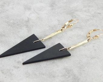Sleek Black Onyx Triangle Drop Earrings  YEVUU6
