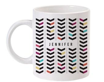 Chevron Personalized Mug | Unique Coffee Mug | Custom Coffee Mug