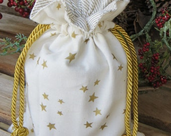 Gold Metallic Stars and Stripes Gift Bag Lined and Drawstring