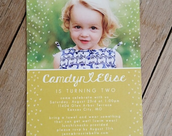 Raining Hearts Birthday Party Invitation - Child Birthday - First Birthday - PRINTED or Electronic available