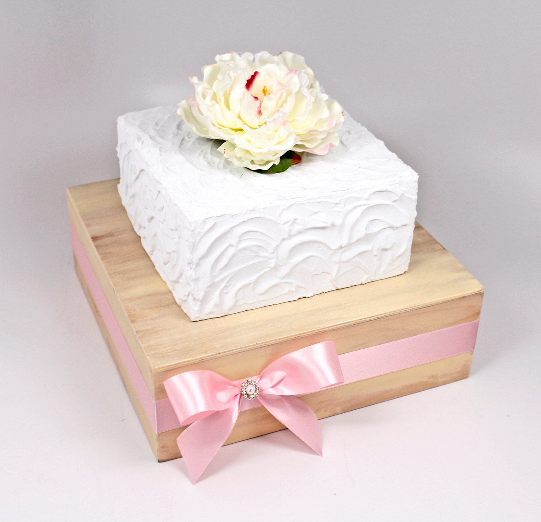 Ivory Washed & Blush Pink Rustic Chic Square Wedding Cake