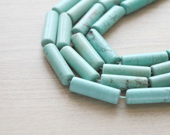 5 pcs of Natural Turquoise Tube Beads