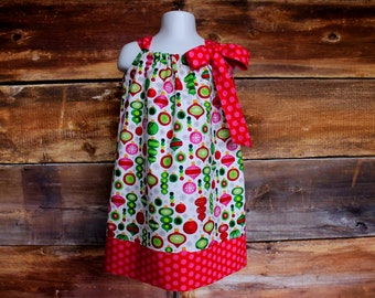 Christmas Dress Holiday Ornament Outfit - Newborn to Child Size 7/8 girls pillowcase dress baby infant toddler Red green pink silver sparkle
