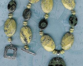 Kumbaya - Kambaba Jasper, Yellow Jasper, Freshwater Pearls, Sterling Silver Necklace
