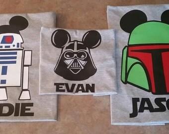Star Wars themed Disney World Family Shirts: Darth Vader, Yoda, Boba Fett, Storm Trooper, R2D2, BB-8, Leia, Chewbacca tees!