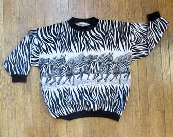 Vintage 80's Sky Lite Zebra Print 3/4 sleeved sweater // Size M