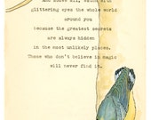 Nuthatch and a quote from Roald Dahl on a front page form a 1960s Penguin book.