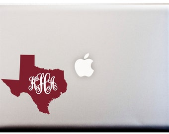 LAPTOP DECAL Texas State Monogram Decal Southern Pride