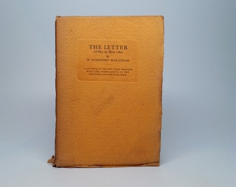 The Letter A Play in Three Acts by W. Somerset Maugham First American Edition Souvenir of the New York Premier September 26, 1927 SCARCE