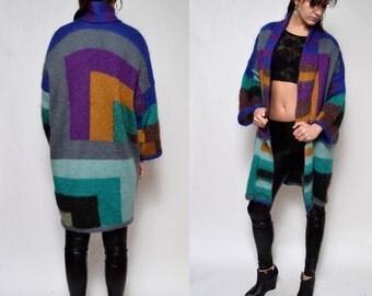 Vintage Multi-Color Geometric Long Blazer  Sweater