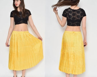 Vintage 80's Yellow Accordion Pleated Long Skirt
