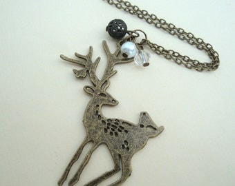 Bronze deer necklace with beads vintage style kitsch reindeer stag bird
