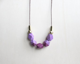 wooden geometric necklace lilac purple // modern dipped necklace for girls, women - trendy everyday jewelry