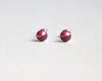 bright wooden stud earrings marsala pink dipped // wood post earring studs - 6 mm // everyday jewelry, eco-friendly