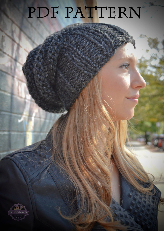 Knitting PATTERN, Womens Slouchy Hipster Beanie Knit Hat Pattern, Tam Ha...