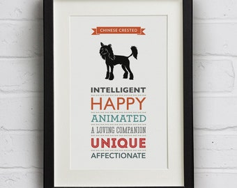 Chinese Crested (Hairless) Dog Breed Traits Print