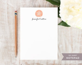 Personalized Notepad - SAND DOLLAR  - Stationery / Stationary Notepad - Beachy Seashell Custom Notes