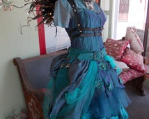 CUSTOM MADE: Custom Upcycled Steampunk Fairy Costume with L.E.D. Wings