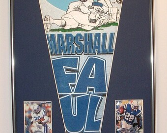 Indianapolis Colts Marshall Faulk Pennant & Cards.....Custom Framed!