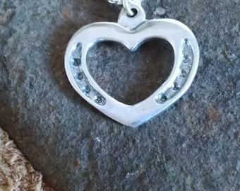 Horseshoe Heart Necklace   Horse Jewelry   Heart Pendant