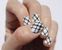 White Plaid Nail Wraps
