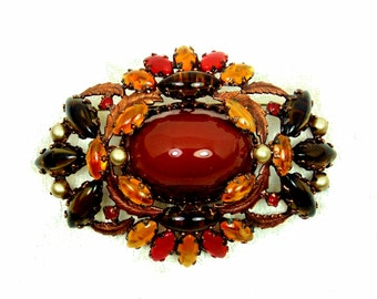 Vintage Schreiner Brooch in Brown and Topaz, Unsigned, Hook and Eye Jewelry