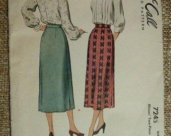 McCall 7245 Long Maxi Skirt Vintage Sewing Pattern 1940s 40s Size 28