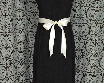 Vintage 1960s Little Black Cocktail Dress with Ruched V Neck & Boatneck Accent