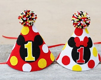 Minnie Mouse and/or Mickey Mouse 1st Birthday Party Hat - Boy Girl Twins