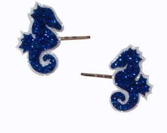 10% off with the code BDAY10  Rockabilly Nautical Sweet Seahorse Glitter Bobby Pins Hair Clips