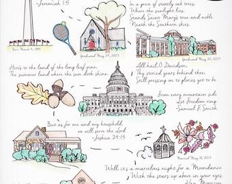 Custom Illustrated Life Map, (8x10)