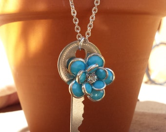 Vintage Key and Turquoise Flower Necklace